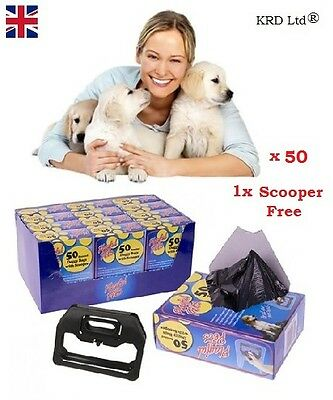 50 SCENTED POOPER BAGS + FREE SCOOPER Dog Pet Cat Poo Poop Bin Bag Toilet Waste