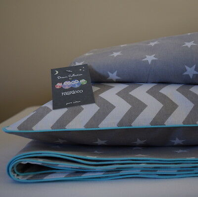 100%COTTON Cot Bed Duvet Cover Set & Fitted Sheet Grey Chevron Stars nursery