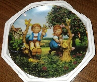 "MJ Hummel Danbury Mint Collector plate "" Apple Tree boy and  Girl """