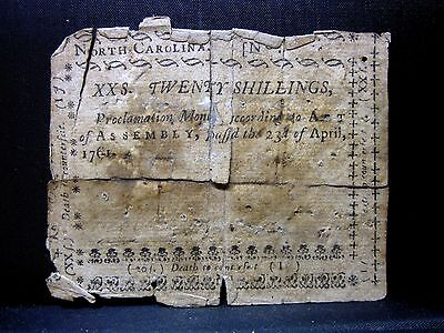 Colonial Currency ✪ North Carolina April 23Rd 1761 ✪ Fr Nc-124 20S ◢Trusted◣