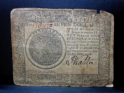 Colonial Currency ✪ Continental September 26Th 1778 ✪ Fr Cc-80 $7 ◢Trusted◣