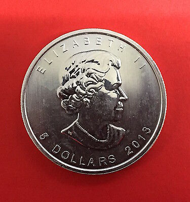 5 DOLLARS CANADA 2013 - FEUILLE d'ERABLE - MAPLE LEAF 1 OZ. ONCE - ARGENT.