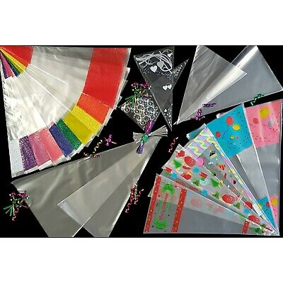 Party Cone Bags Clear & Coloured Cello Plastic Candy Sweet Treat Cello Gift Bag