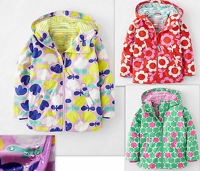 NEW ex MINI BODEN Jersey Lined Girls RainMac Jacket 3 Patterns Age 2-8Y