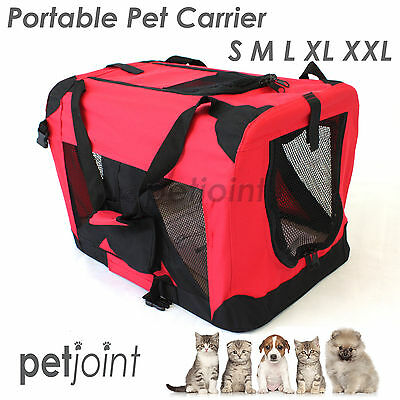 S M L XL XXL Pet Soft Crate Portable Dog Cat Carrier Travel Cage Kennel - Red