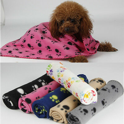 60*70CM Cozy Lovely Pet Paw Print Pet Cat Dog Fleece Soft Blanket Beds Mat Cover