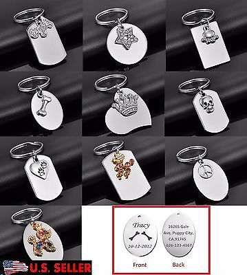 Engraved Personalized Pet Tag Cat Dog ID Name Tag Key Ring Front & Back Engraved