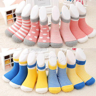 Lot of 4 Pairs Lovely Baby Newborn Infant Toddler Kids Cotton Socks 0-3 Years