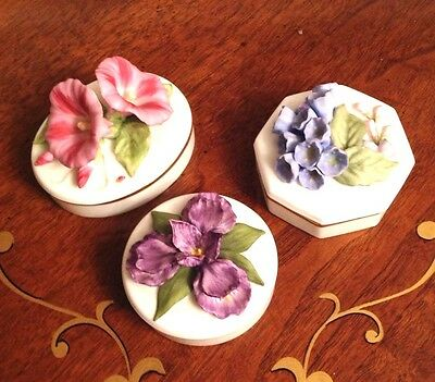 Set Of Lenox Country Garden Collection Trinket Boxes Iris Morning Glory Bluebel