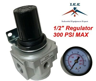 """Air Pressure Regulator for compressed air 1/2"""" with gauge wall mounting bracket"""