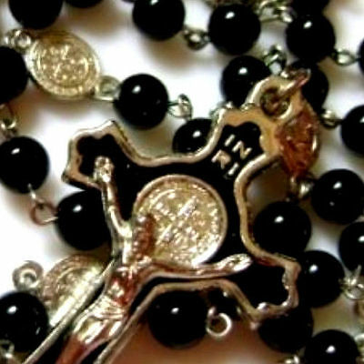 black rosary Beads & silver skull catholic Rosary Prayer Necklace box crucifix
