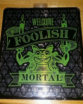 Disney Parks Haunted Mansion Welcome Foolish Mortal Metal Tin Door Sign NEW