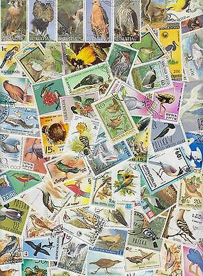 100 All different WORLD stamps with BIRDS. Nice selection