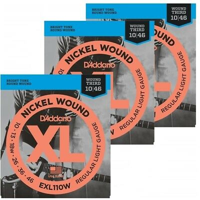 D'Addario 3 Sets EXL110W Nickel Wound Light (wound 3rd) Electric Strings 10 - 46