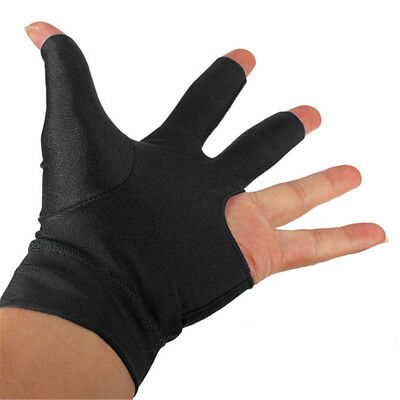 10x Professional Black Spandex Shooter Pool Billiards Cue 3 Three Finger Glove