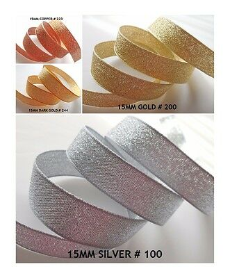 15mm Metallic/Sparkly Lame Ribbon- 4 Colours-2M/5M/10M-Berisfords-Wedding,Crafts