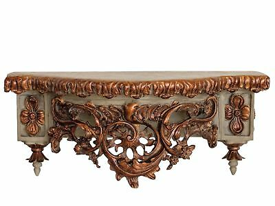 Wall shelf console 49cm ornaments golden in antique style
