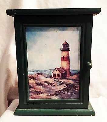 Green Wood Wall Hanging LIGHTHOUSE KEY CABINET with Tile Front