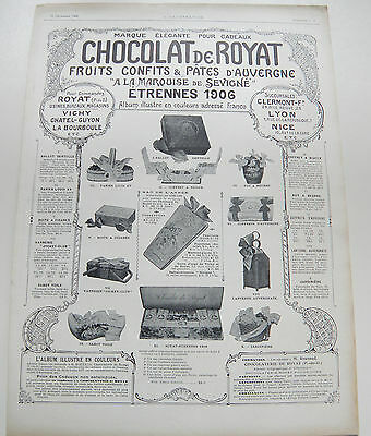 Pub Publicite Advert Clipping Ancien 0503 Chocolat De Royat Fruits Confits & Pat