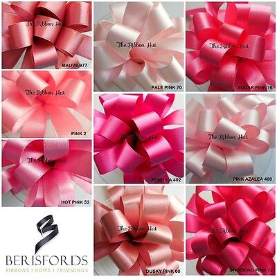 Berisfords Double Satin Ribbon Shades of Pink 9 Shades, 8 Widths 3 Lengths