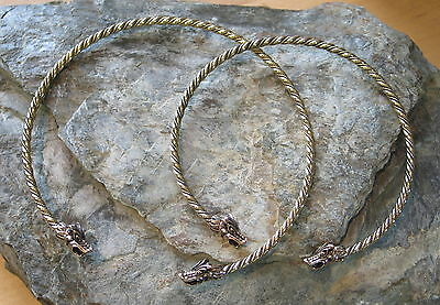 Torc Torque BRONZE choker necklace collar celtic medieval viking Dragon