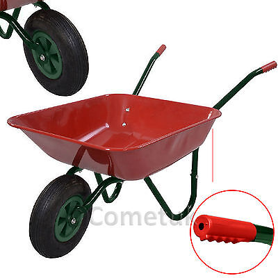 """65L Heavy Duty Metal Galvanised Wheelbarrow With 12"""" Pneumatic Tyres inflatable"""
