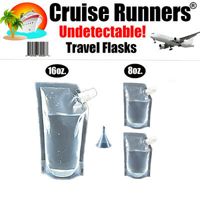 Cruise Travel Flask Kit 4Pk Rum Runners Sneak Smuggle Alcohol Liquor Booze Wine