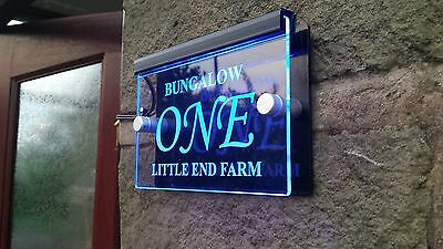 ILLUMINATED MODERN SIGN PLAQUE DOOR NUMBER 145x95 ETCHED GLASS EFFECT GREEN LED