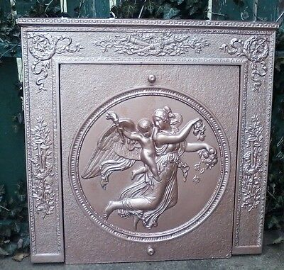 "Antique Cast Iron Fireplace Surround And Matching Cover ""angel With Cherub"""