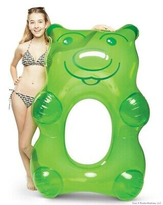 """BigMouth Inc - Giant 5"""" FT  Green Gummy Bear Inflatable Pool Float Raft Tube"""
