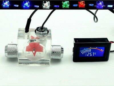 Olike Water Cooling Flow Meter 3way G1/4 Threaded +thermodetector LCD