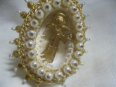 Vintage Gold Angel  Diorama Gold White Beaded Gold Trim Easter Xmas Ornament