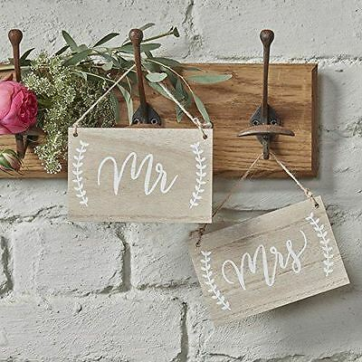 Mr & Mrs wooden chair signs for bride & groom rustic wedding decorations