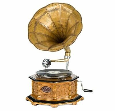 Gramophone antique style complete with horn decorative wooden base