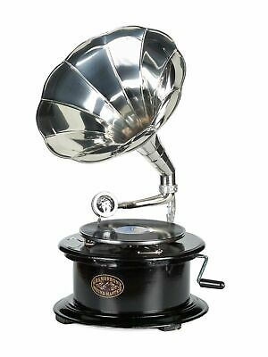 "Vintage gramophone complete with horn - round wooden base - 2´4"" (70cm)"
