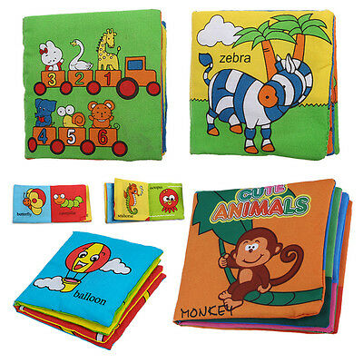 Soft Fabric Baby Children Intelligence Development Squeaky Picture Cloth Book BF