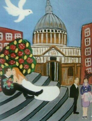 "Fridge Magnet, Wedding at St Pauls, London  Quirky  4.25"" by 5.5"""