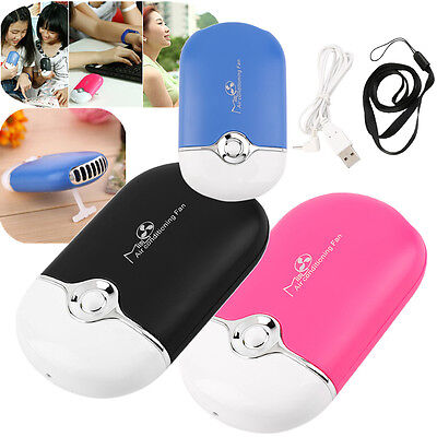 Rechargeable Portable Mini Handheld Air Conditioning Cooling Fan USB Cooler DE
