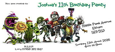 Plant Vs V Zombies Personalised Birthday Card Any Text Or Age Change