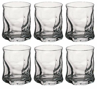 Tumbler Whisky Glasses Set of 6 Cups 420ml/15oz High Quality Twisted Design New