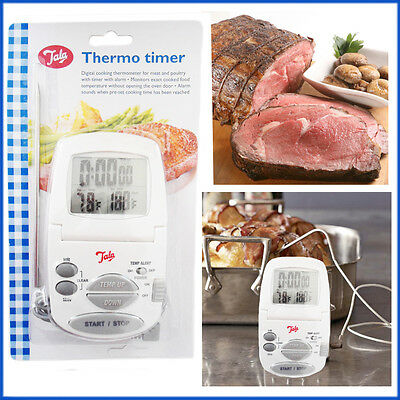 Oven Thermometer Digital Thermo Timer Meat Baking Roasting Cooking With Alarm