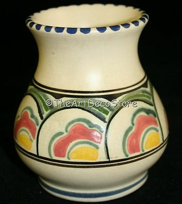 Vintage British Devon Pottery Hand Painted Honiton Vase 4In Tall