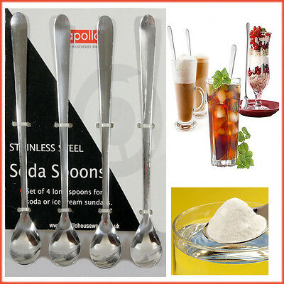 Spoon Stainless Steel Dessert Ice Cream Soda Sundae Glass 4x Long Spoons Latte