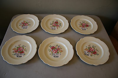 Set of 6 Homer Laughlin HLC3666 Marigold, Roses Multifloral Luncheon Plates