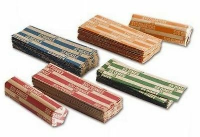 500 Assorted Coin Wrappers (125 of each: Penny, Nickel, Dime, Quarter)