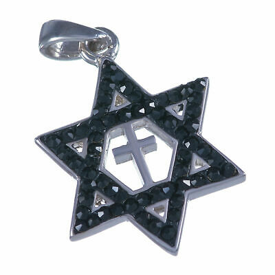 Sterling silver 925 black Swarovski Messianic Star of David & Cross pendant