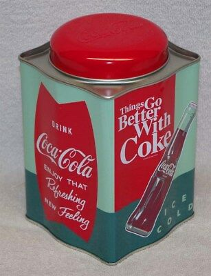 """Coca-Cola Tea Caddy Tin """"things Go Better With Coke"""" , New!"""