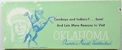 1950's Oklahoma State Parks travel brochure & map western illustrations