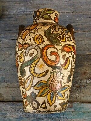 Antique Persian Qajar Middle Eastern /mesopotamian Polychrome Pottery Vase