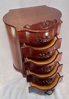 Vintage 5 Drawer Jewelry Trinket Sewing Box - Made In Japan - Gorgeous!